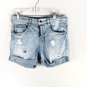 Zara TRF Premium Wash Jean Shorts Distressed Sz 4